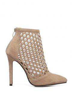 Openwork Pointed Toe Stiletto Heel Pumps - Apricot 40
