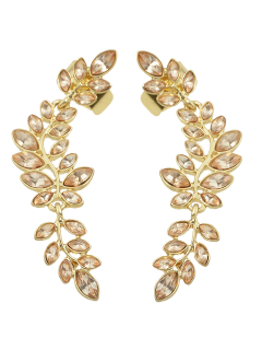 Fake Crystal Leaf Shape Ear Cuffs - Golden