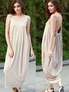 Baggy Maxi Tank Dress - Khaki M