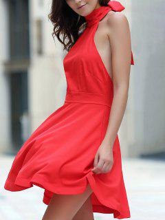 Open Back Halter Sleeveless Dress - Red Xl