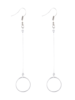 Circle Long Drop Earrings - Silver