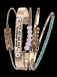 Engraved Letters Chain Alloy Beaded Bracelets - Golden