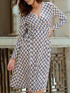 Long Sleeve Houndstooth Print Wrap Dress - White 2xl