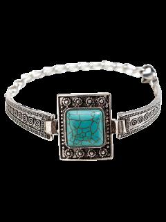 Faux Turquoise Square Boho Bracelet - Silver