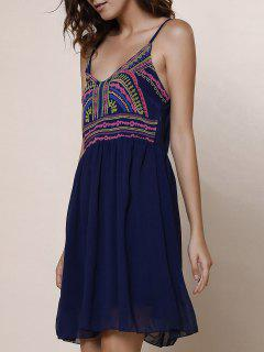 Spaghetti Strap Color Block Print Dress - Purplish Blue M