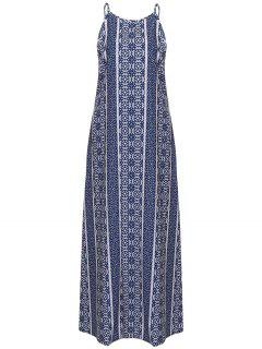 Spaghetti Strap Sleeveless Print Maxi Dress - Blue And White S