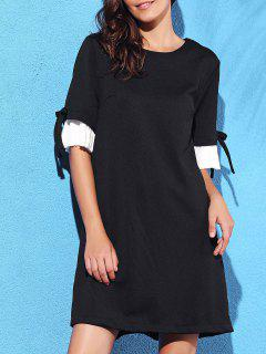 Pleated Spliced Round Neck Half Sleeve Dress - Black S