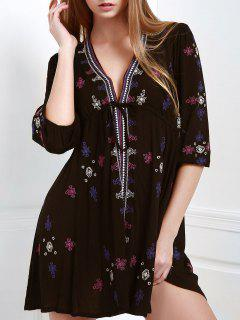 Embroidered Drawstring Design Mini Dress - Black L