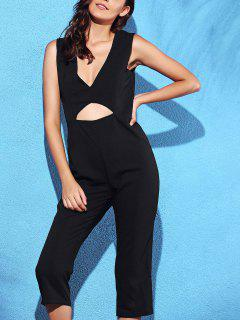 Black Hollow Plunging Neck Sleeveless Jumpsuit - Black S