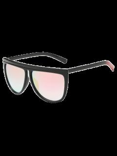 Del Bloque Del Color De La Pierna De Gran Tamaño Gafas De Sol Espejadas - Rosado Claro