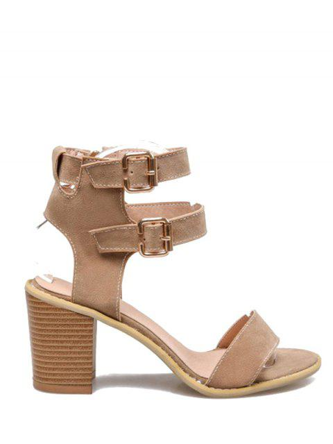 fancy Solid Color Double Buckles Chunky Heel Sandals - APRICOT 37 Mobile