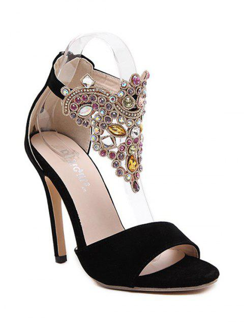 outfits Flock Stiletto Heel Colorful Rhinestone Sandals - BLACK 40 Mobile
