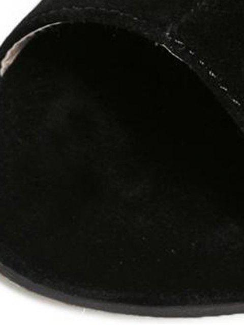 shop Hollow Out Flock Black Peep Toe Shoes - BLACK 39 Mobile