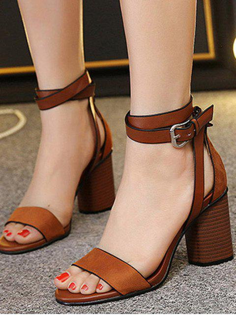 outfit Chunky Heel Suede Ankle Strap Sandals - BROWN 39 Mobile