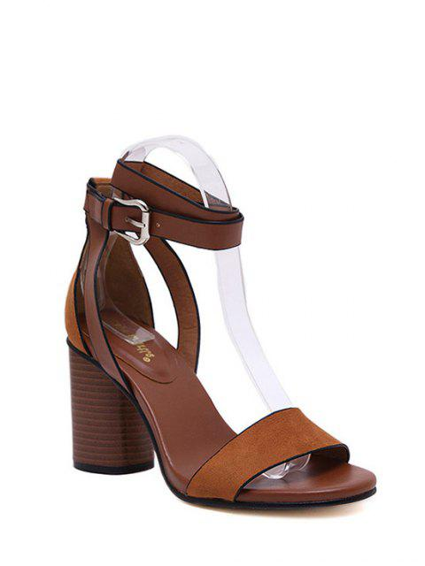 hot Chunky Heel Suede Ankle Strap Sandals - BROWN 37 Mobile