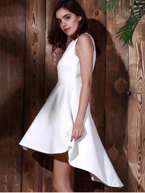 buy High Low Sleeveless White Evening Dress - WHITE L Mobile