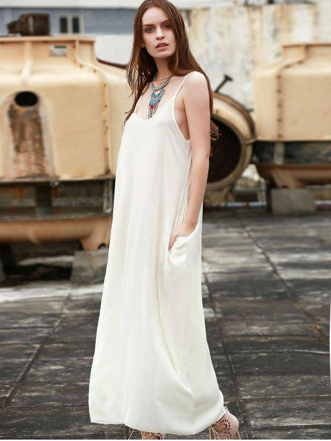 shops Spaghetti Strap Solid Color Sleeveless Maxi Dress - WHITE S Mobile