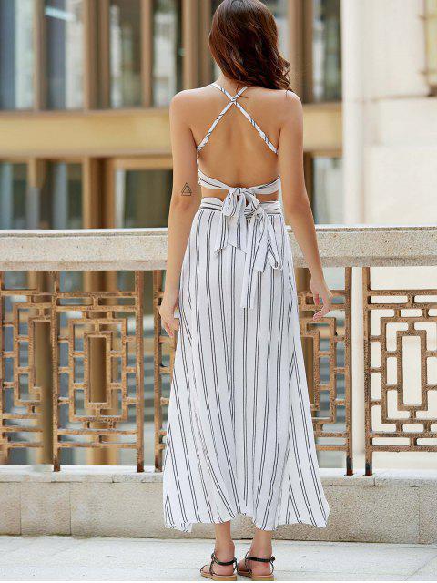 women's Striped Spaghetti Straps Backless Crop Top - WHITE S Mobile