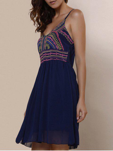 shop Spaghetti Strap Color Block Print Dress - PURPLISH BLUE S Mobile