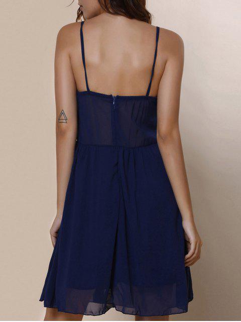 latest Spaghetti Strap Color Block Print Dress - PURPLISH BLUE L Mobile
