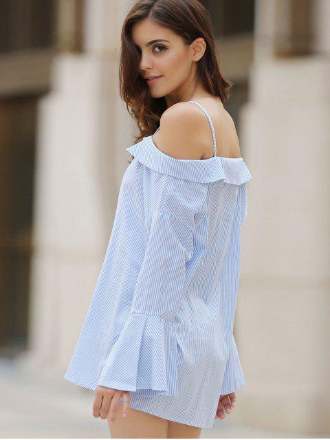 womens Striped Cold Shoulder Bell Sleeve Shirt - LIGHT BLUE L Mobile