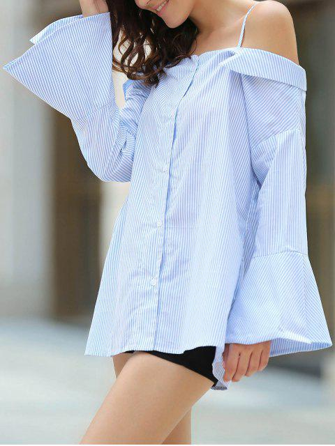 affordable Striped Cold Shoulder Bell Sleeve Shirt - LIGHT BLUE S Mobile