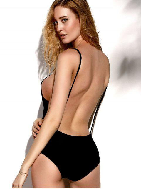 chic Backless Solid Color Straps One-Piece Swimwear - BLACK S Mobile