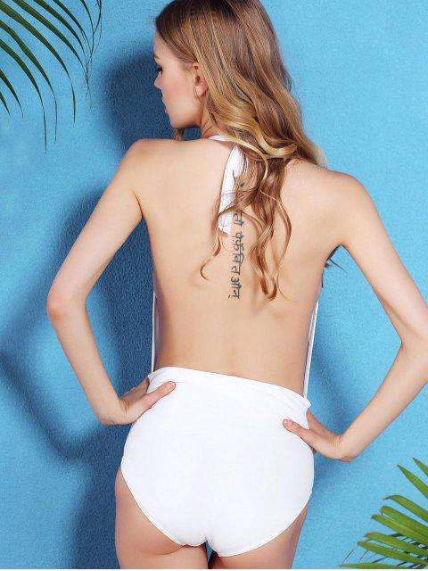 shop Solid Color Open Back Halter One-Piece Swimwear - WHITE L Mobile