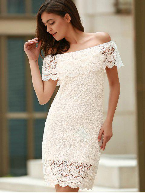 shop Off The Shoulder Flounce Ruffles Boat Neck Lace Dress - WHITE M Mobile