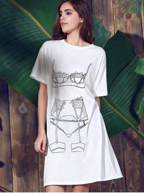 trendy Casual Loose Printed Round Neck Short Sleeve Dress - WHITE S Mobile