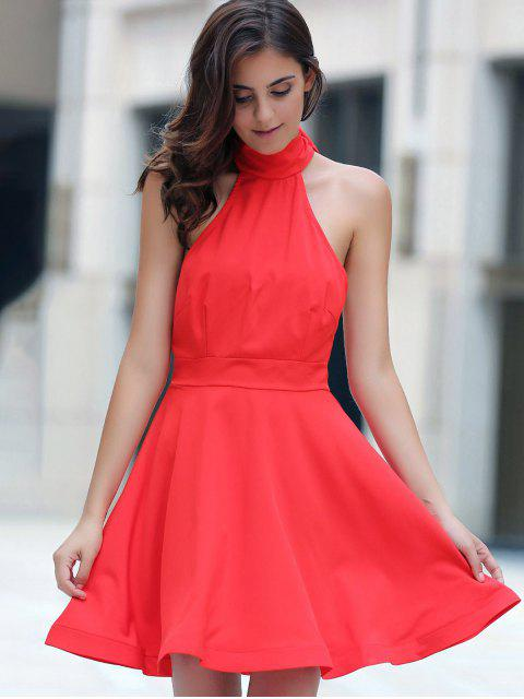 Red dos ouvert Halter Robe sans manches - Rouge M Mobile