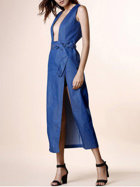 buy High Slit Plunging Neck Sleeveless Denim Dress - BLUE XL Mobile
