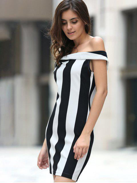 chic Fitted Striped Sleeveless Off The Shoulder Dress - WHITE AND BLACK M Mobile