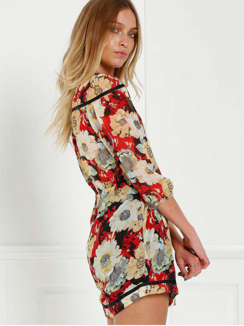 shop Floral V-Neck 3/4 Sleeve Romper - COLORMIX M Mobile