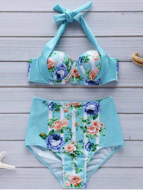 fashion Floral Halter High Waist Bikini Set - COLORMIX S Mobile