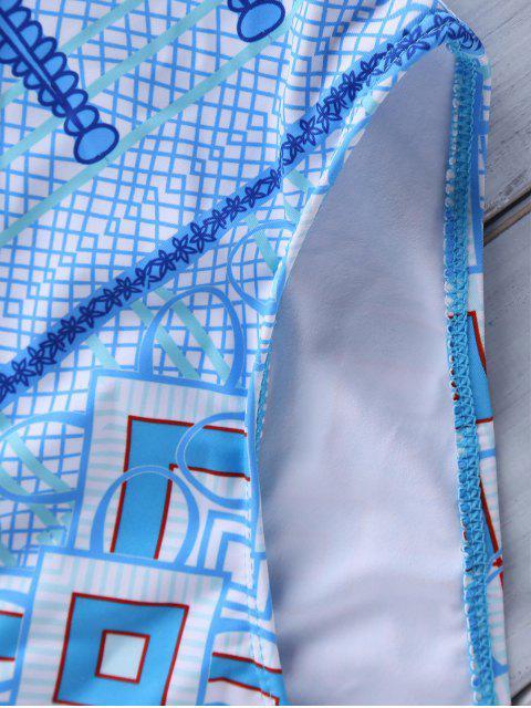 best Argyle Print Cami One-Piece Swimwear - BLUE L Mobile