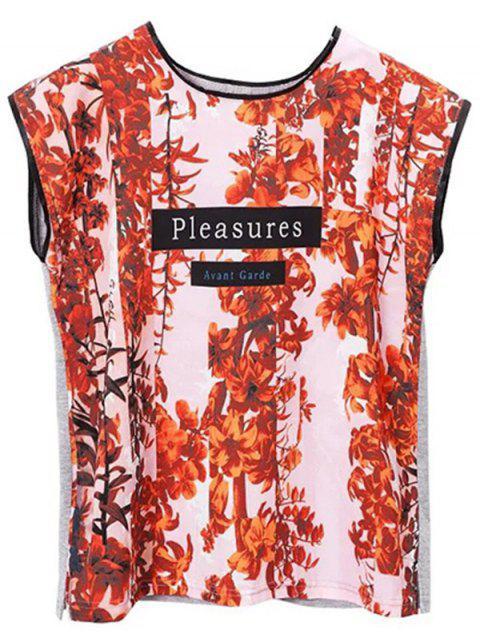 ladies Printed Round Collar Side Slit T-Shirt - PINK S Mobile