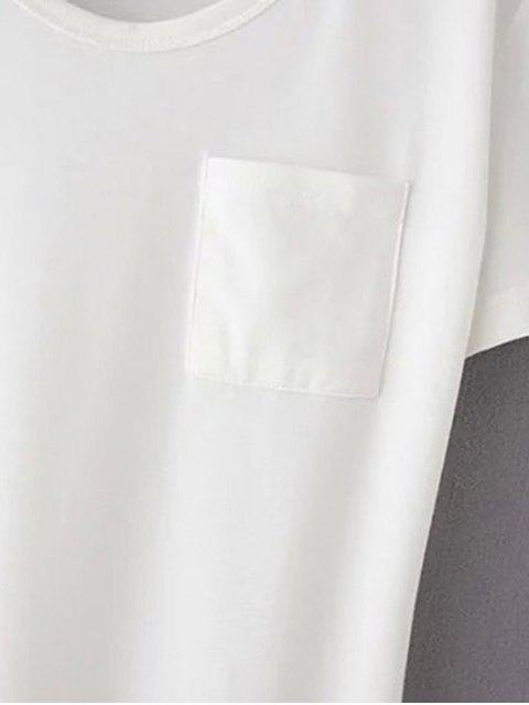 hot Patchwork Pocket Solid Color T-Shirt - GRAY XL Mobile