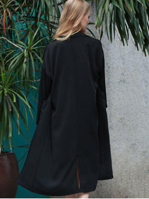 fancy Back Slit Lapel Collar Long Sleeve Long Coat - BLACK M Mobile