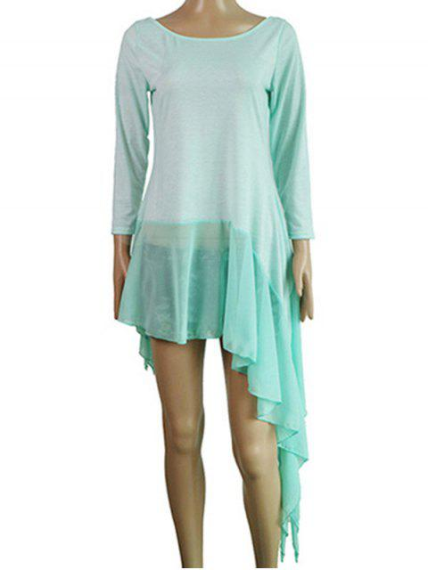 buy Irregular Hem Chiffon Splice Scoop Neck Dress - LAKE BLUE L Mobile