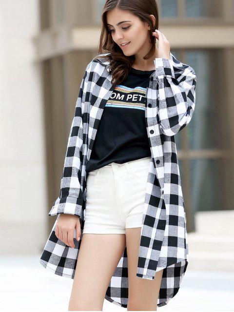 chic Checked High-Low Shirt Collar Long Sleeve Dress - BLACK S Mobile