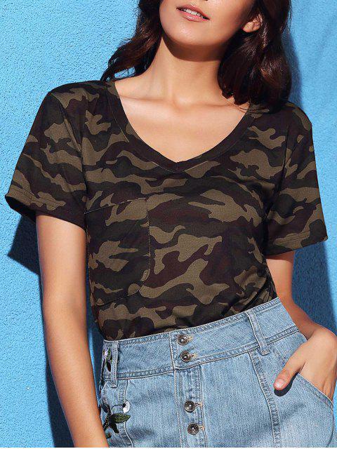 T-shirt à col V à manches courtes imprimé de motif de camouflage - Camouflage L Mobile