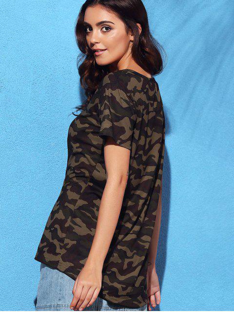 T-shirt à col V à manches courtes imprimé de motif de camouflage - Camouflage S Mobile