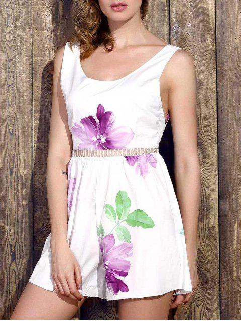 fashion Floral Sleeveless Wide Leg Romper - WHITE M Mobile