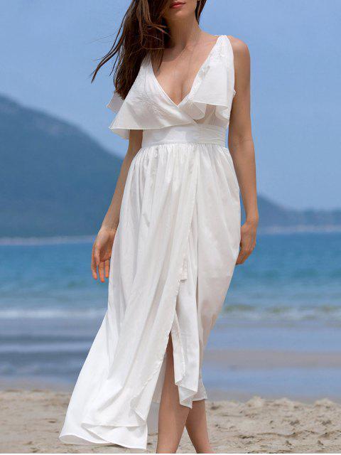 Hohe Slit Volant Rüschen Zustell-Ausschnitt ärmelloses Kleid - Weiß S Mobile
