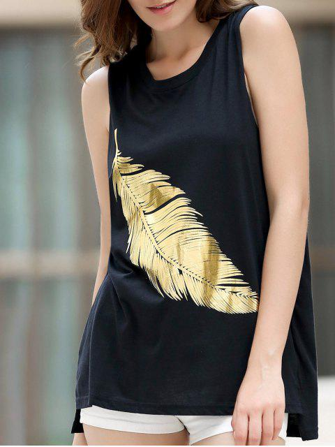 best Sparkly Feather Pattern Tank Top - BLACK L Mobile
