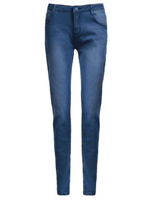 Enge gestickte Bleistift-Jeans mit hoher Taille - Blau L Mobile
