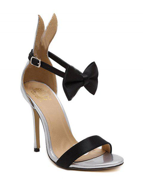 Bow lapin Ear Stiletto Sandales à talons - Argent 37 Mobile
