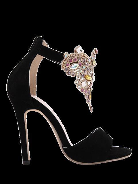 hot Flock Stiletto Heel Colorful Rhinestone Sandals - BLACK 38 Mobile