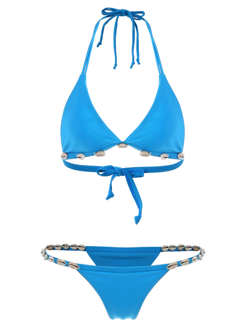 shops Solid Color Shelled Halter Bikini Set - BLUE S Mobile